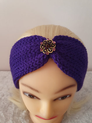 Deep Purple Knitted Head Band