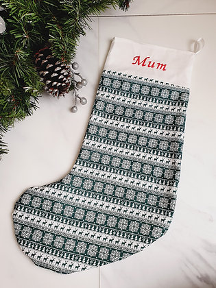 Green Reindeer Stripe Personalised Luxury Christmas Stocking