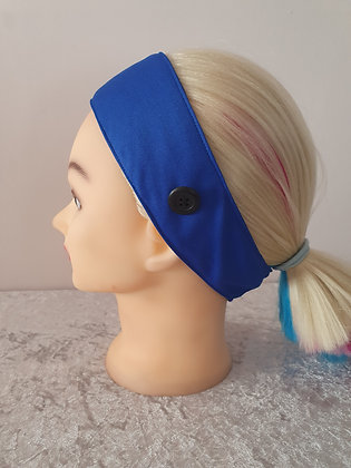 Button Head Band in Royal Blue - to hold face masks