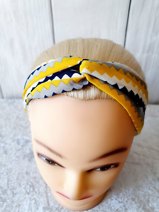 Yellow Squiggles Elasticated Head Band