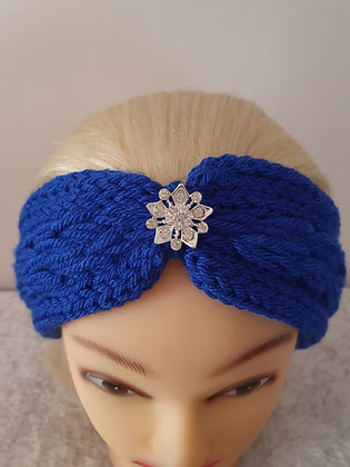 Cobalt Blue Pleat Knitted Head Band