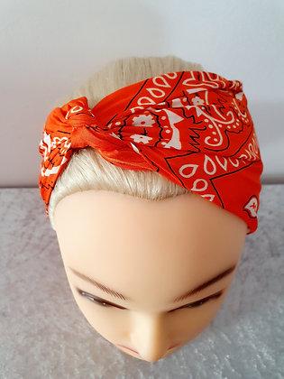 Darker Orange Paisley Head Scarf