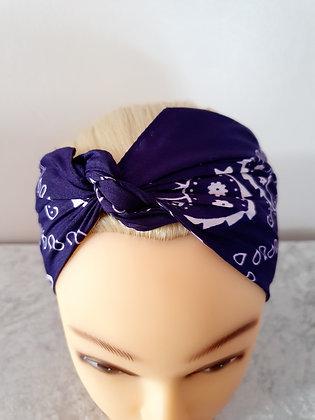 Dark Purple Paisley Head Scarf