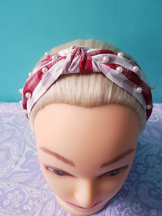 Pearl Red Gingham Head Band
