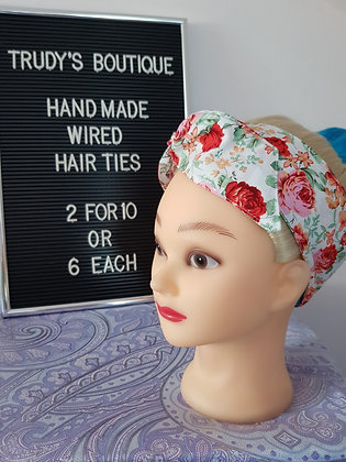 Red Roses on White - Wired Hair Tie