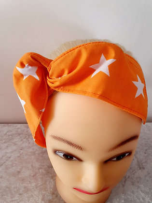 Orange Stars Wired Hair Tie