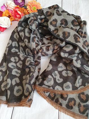 Charcoal Leopard Print Soft Scarf