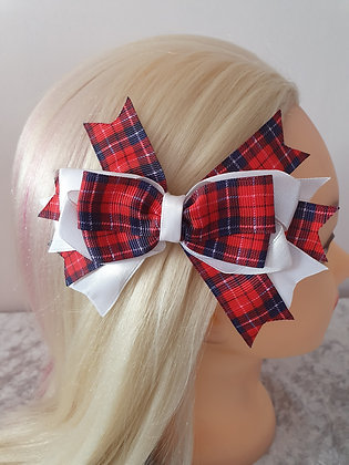 Red Tartan Large Hair Bow