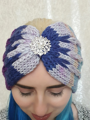 Triple Pleat Purple Mix Double Width Knitted Head Band