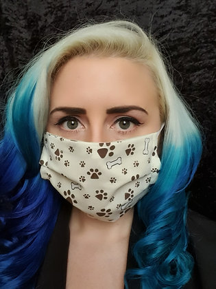 Paw Prints Brown Face Mask