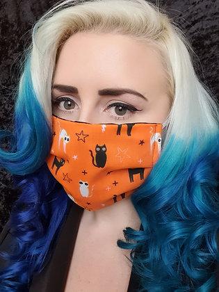 Cats on Orange Face Mask