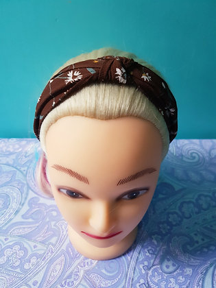 Floral on Brown Head Band