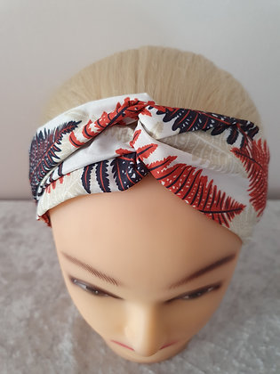 White Tropical Elasticated Head Band