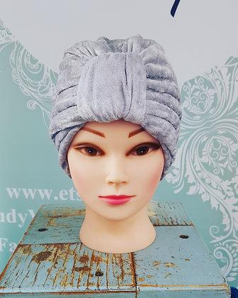 Silver Grey Crushed Velvet Turban
