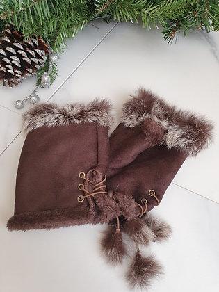 Brown Faux Fur Fingerless Gloves