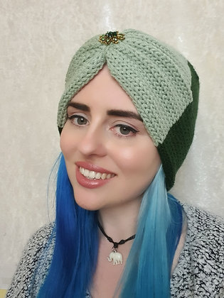 Green Two Tone Double Width Knitted Head Band