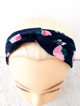 Strawberries on Navy Elasticated Head Band