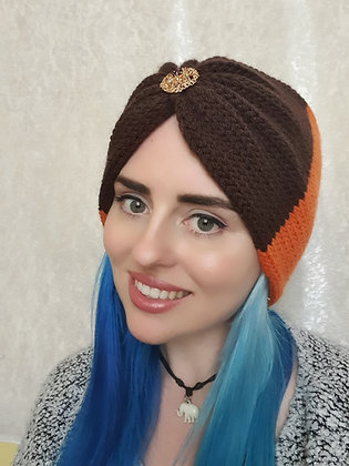 Brown and Orange Double Width Knitted Ear Warmer