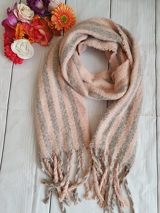Pink and Grey Super Soft Winter Scarf