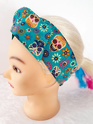 Candy Skulls on Green Wired Hair Tie