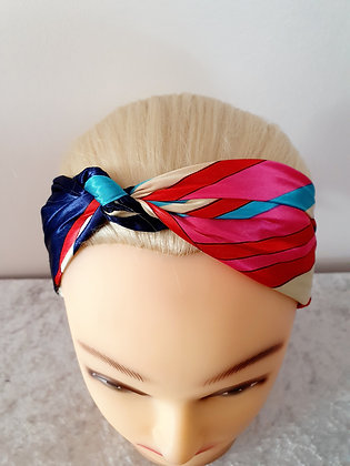 Pink and Navy Square Silk Head Scarf