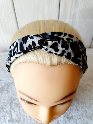 Grey Leopard Print Elasticated Head Band