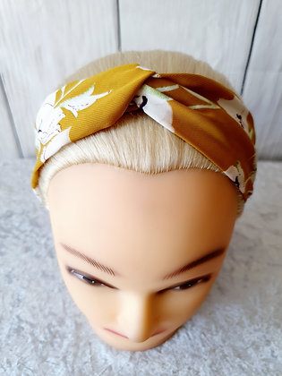 Delicate Floral Mustard Elasticated Head Band