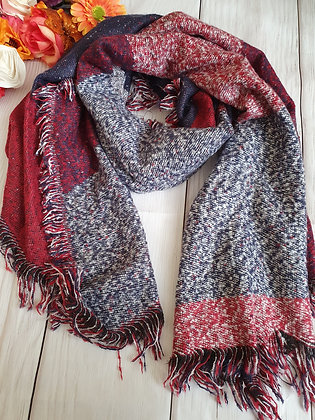 Navy and Red Super Soft Winter Scarf