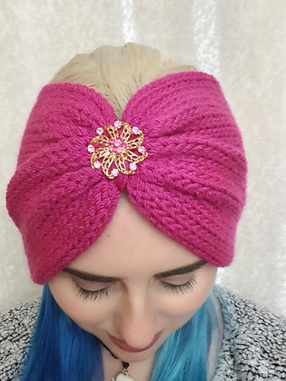 Pink Double Width Knitted Head Band