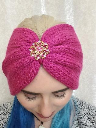 Pink Double Width Knitted Ear Warmer