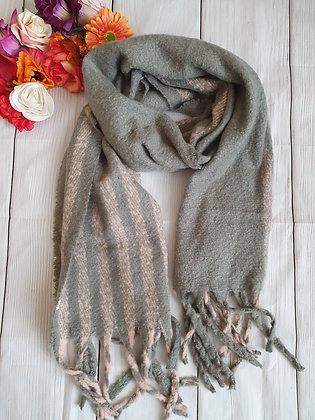 Grey and Pink Super Soft Winter Scarf