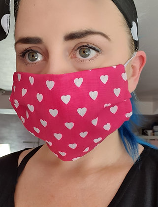 Cerise Hearts Face Mask