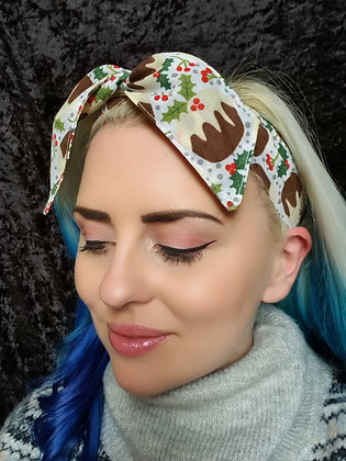 Christmas Pudding on White Wired Hair Tie