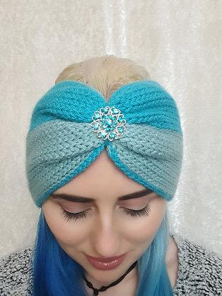 Two Tone Blue Double Width Knitted Ear Warmer
