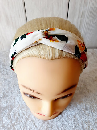 Berries on White Elasticated Head Band