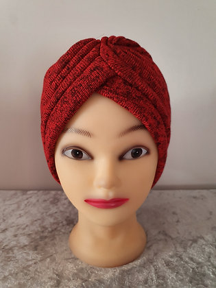 Red Ribbed Turban