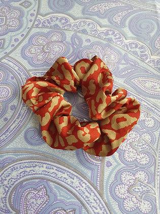 Hand Made Scrunchie - Red Leopard Print