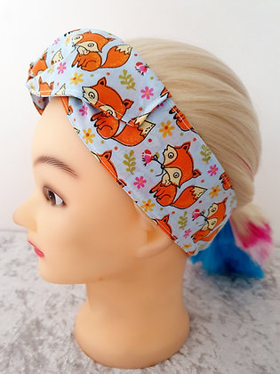 Foxes on Blue Wired Hair Tie