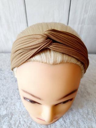 Beige Ribbed Elasticated Head Band
