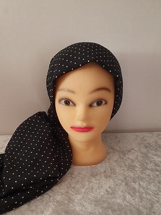 Black and White Polka Dot Large Head Scarf