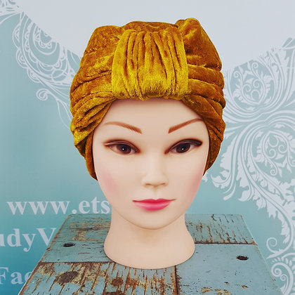Yellow Gold Crushed Velvet Turban