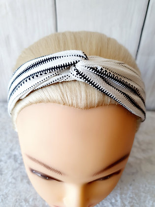 Black Dots and Stripes on White Elasticated Head Band