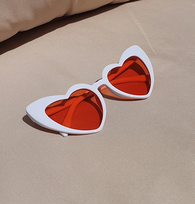 White Pink Lens Heart Sunglasses