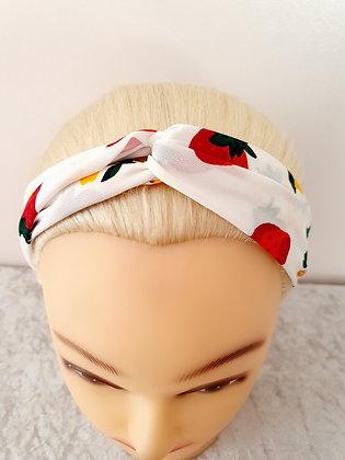 Strawberry on White Elasticated Head Band
