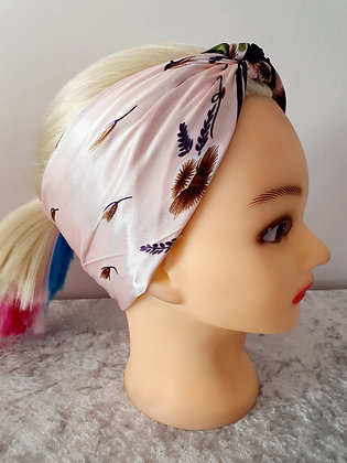 Purple Floral Silk Head Scarf