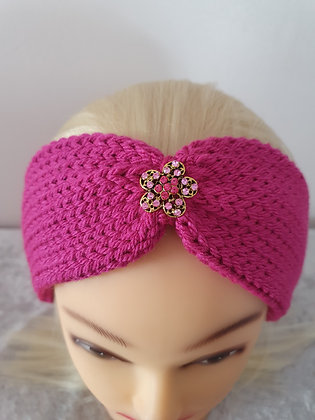 Dark Pink Knitted Head Band