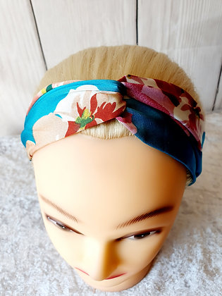 Silk Floral Green Elasticated Head Band