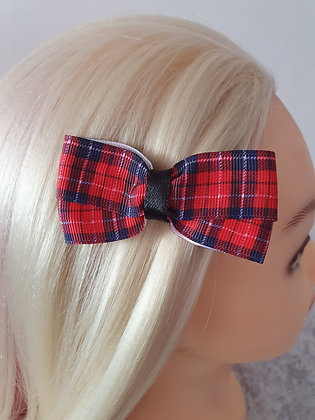 Red Tartan with Black Hair Bow