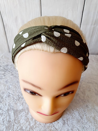 Khaki Polka Elasticated Head Band