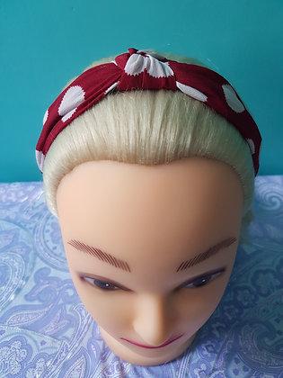 Red Large Polka Head Band